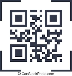 Scanning black qarcode on phone screen icon, simple flat design interface element for app ui ux, interface, web, button, vector isolated on white background