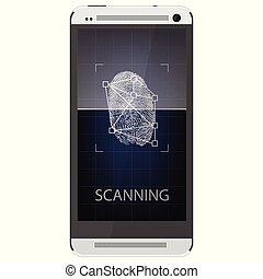 Unlock mobile phone - Scanning fingerprint on smartphone....