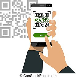 Hand holds a smartphone and push a button for scanning qr code and paying isolated on white background. Vector illustration.