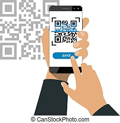 Scanning qr code - Hand holds a smartphone and push a button...
