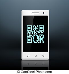 scanning qr code on the screen of your smartphone