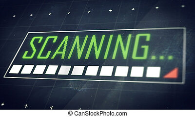 scanning..., título, ligado, screen., tecnologia, experiência.