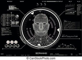 scanning., ui., interface, figure, concept, hud