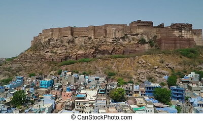 Scanning Up Mehrangarh Fort - Drone, exterior, wide,...