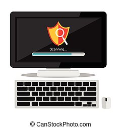 Scanning virus on computer concept illustration. Antivirus symbol.