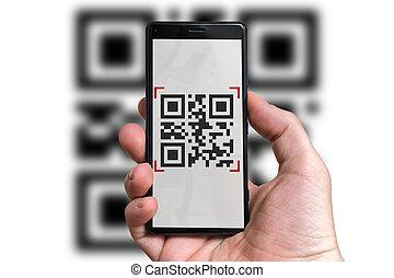 scansione, codice, mobile, qr, macchina fotografica, telefono., uomo