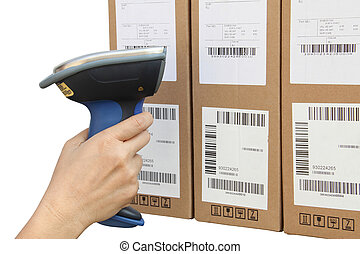 scansione, scatole, barcode, scanner, buletooth