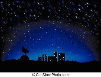 scape, cielo notte, città