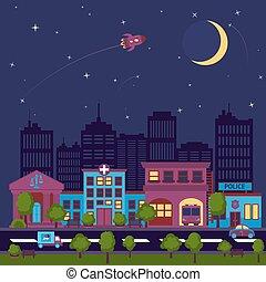 scape città, fondo, notte