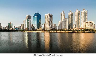 scape de ciudad, de, bangkok, tailandia