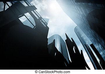 scape, siniestro, ciudad
