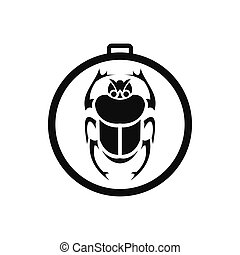 Scarab amulet icon, simple style