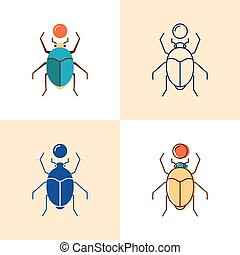 Scarab beetle icon set in flat and line style