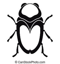 Scarab beetle icon, simple style