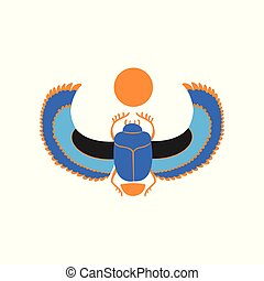 Scarab beetle with blue wings and orange sun. Symbol of ancient Egyptian culture and mythology. Vector icon of sacred insect in flat style