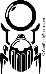 Scarab icon, simple black style