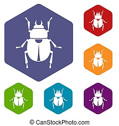 Scarab icons set hexagon