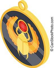 Scarab medallion icon, isometric style