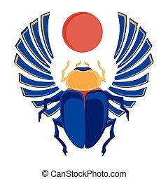 scarab, vector, egyptisch