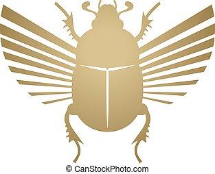 scarabeo, illustrazione, dorato