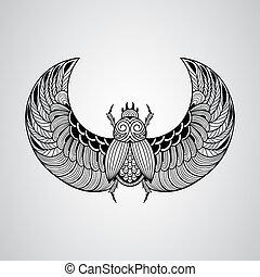 scarabeo scarab, stile, vettore, tatuaggio