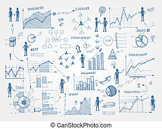 scarabocchiare, affari, amministrazione, infographics, elementi