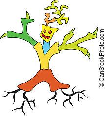 scarabocchiare, albero, uomo