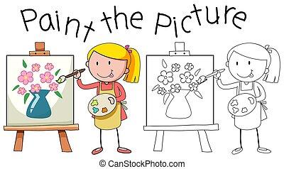 scarabocchiare, artista, pittura, immagine