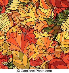 scarabocchiare, astratto, seamless, autunno, vettore, modello, foglie