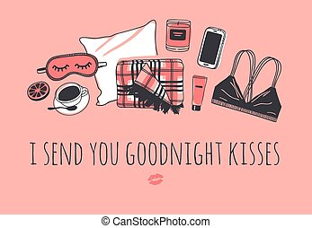 scarabocchiare, baci, confortevole, sonno, artwork., set, vettore, goodnight, routine, mano, citazione, cuscino, circa, oggetti, illustration., disegnato, text., creativo, mandare, lei