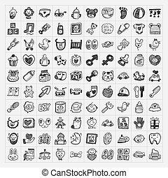 scarabocchiare, bambino, icona, serie