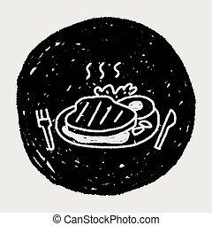 scarabocchiare, bistecca