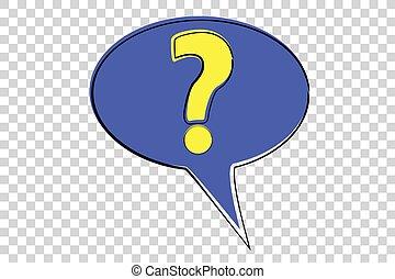 scarabocchiare, blu, punto esclamativo, giallo, domanda