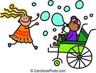 scarabocchiare, bolle, bambini, soffiando