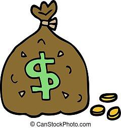 scarabocchiare, borsa, cartone animato, soldi
