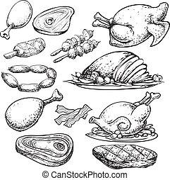 scarabocchiare, carne