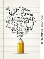 scarabocchiare, carta, scrivere, idea, quaderno