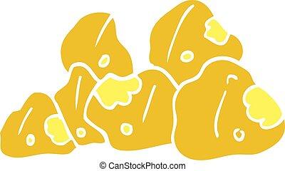scarabocchiare, cartone animato, oro, grappoli