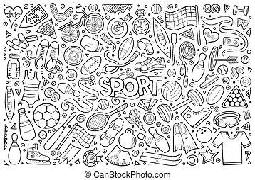 scarabocchiare, cartone animato, set, di, sport, oggetti, e, simboli