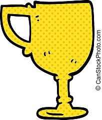 scarabocchiare, cartone animato, tazza oro
