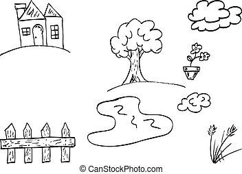 scarabocchiare, casa, giardino