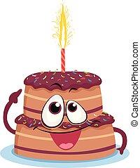 scarabocchiare, cioccolato, torta compleanno, candela, mascotte