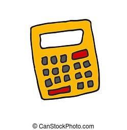 scarabocchiare, colore calcolatrice, illustrazione, mano, vettore, disegnato, cartone animato, icona