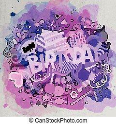scarabocchiare, compleanno, mano, vettore, illustrazione, disegnato, cartone animato