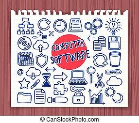 scarabocchiare, computer, set, software
