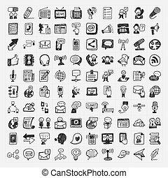 scarabocchiare, comunicazione, icone, set