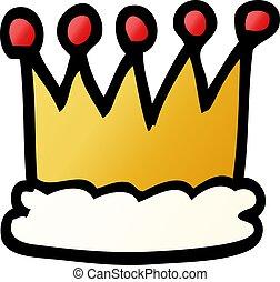 scarabocchiare, corona, cartone animato, oro