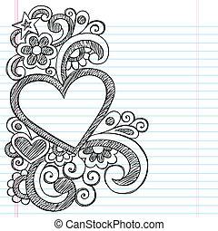 scarabocchiare, cuore, sketchy, cornice, immagine