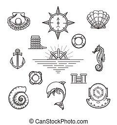 scarabocchiare, decorazione, set, nautico, elemento