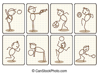 scarabocchiare, delineato, cartone animato, sport